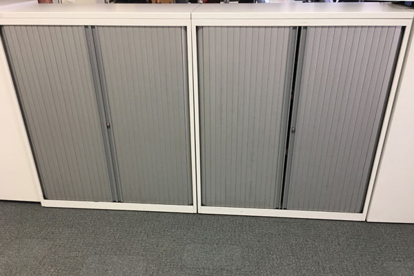 White Bisley Tambour front at New and Used Office Furniture Wiltshire