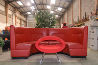 Used office furniture red reception sofa image from Swindon showroom